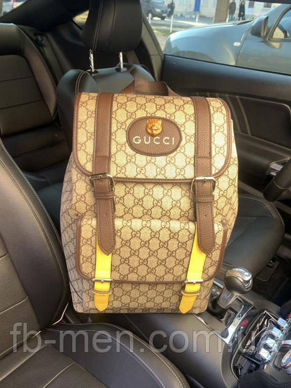 Рюкзак Gucci кожаный коричневый | Повседневный рюкзак Gucci кот | Портфель повседневный в стиле Gucci