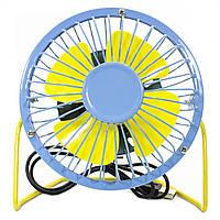 Универсальный USB мини-вентилятор Fan Mini Sanhuai A18 Blue + Yellow (3175-9799)