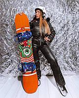 Женский зимний горнолыжный комбинезон с резинкой на талии и меховой опушкой на капюшоне 18mgk43
