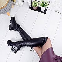 Сапоги женские ботфорты Irene черные 9329 кожа