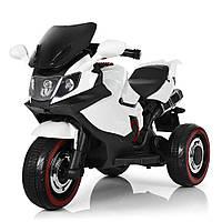Мотоцикл M 3680L-1 2 мот. 15W, акум. 6V7A, шкіра, 3 кол., світло, MP3, USB, SD, білий.