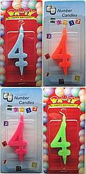 Свеча для торта №4 мультиколор Number Candles
