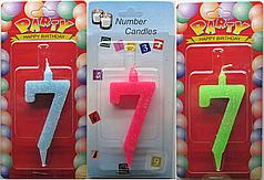 Свеча для торта №7 мультиколор Number Candles