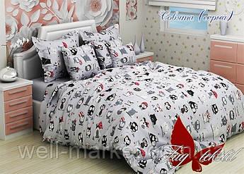 ТМ TAG Комплект постельного белья Совята серый