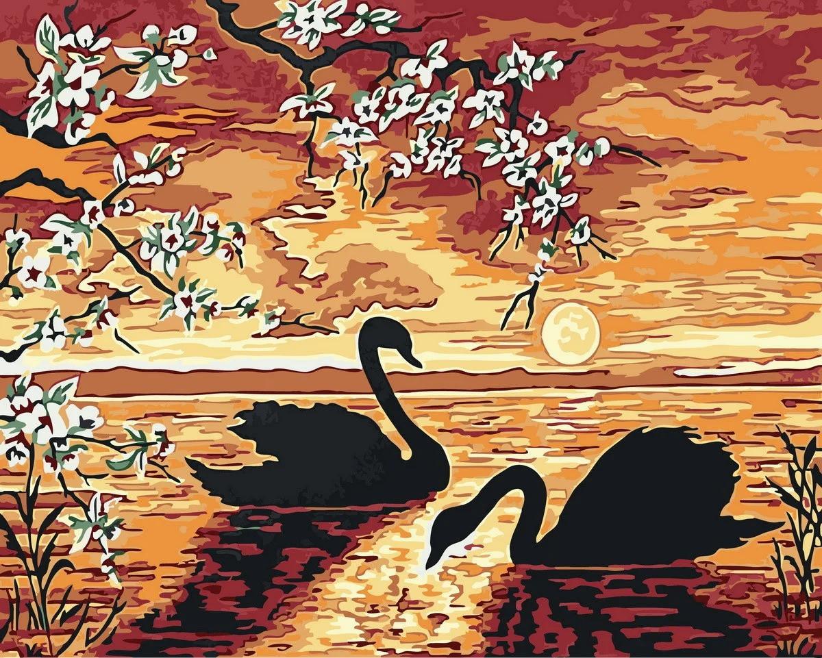 "Картина по номерам. Rainbow Art ""Лебеди на закате"" GX32173-RA"