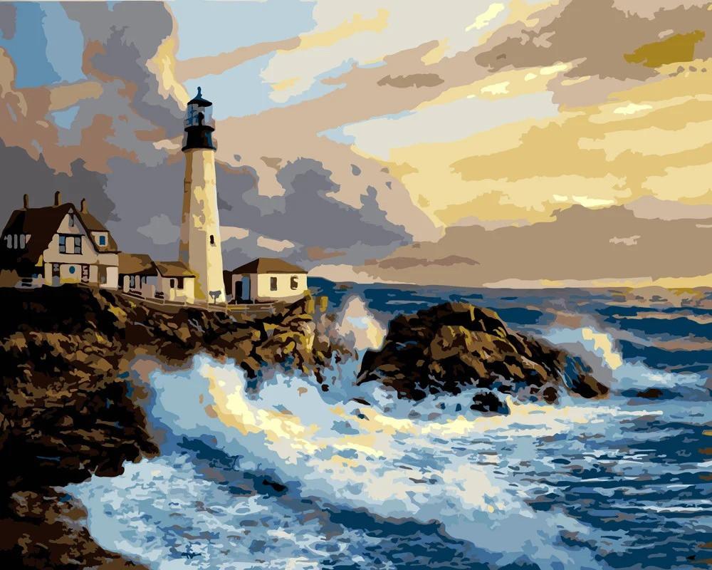 """Картина по номерам. Rainbow Art """"Белый маяк"""" GX7682-RA"""