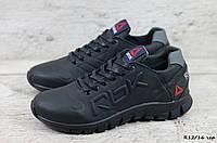 Мужские кожаные кроссовки Reebok (Реплика) (Код: R12/16 черн ) ►Размеры [40,41,42,43,44,45]