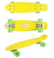 Детский скейтборд GO Travel (желтый - зеленые прозрачные колеса)