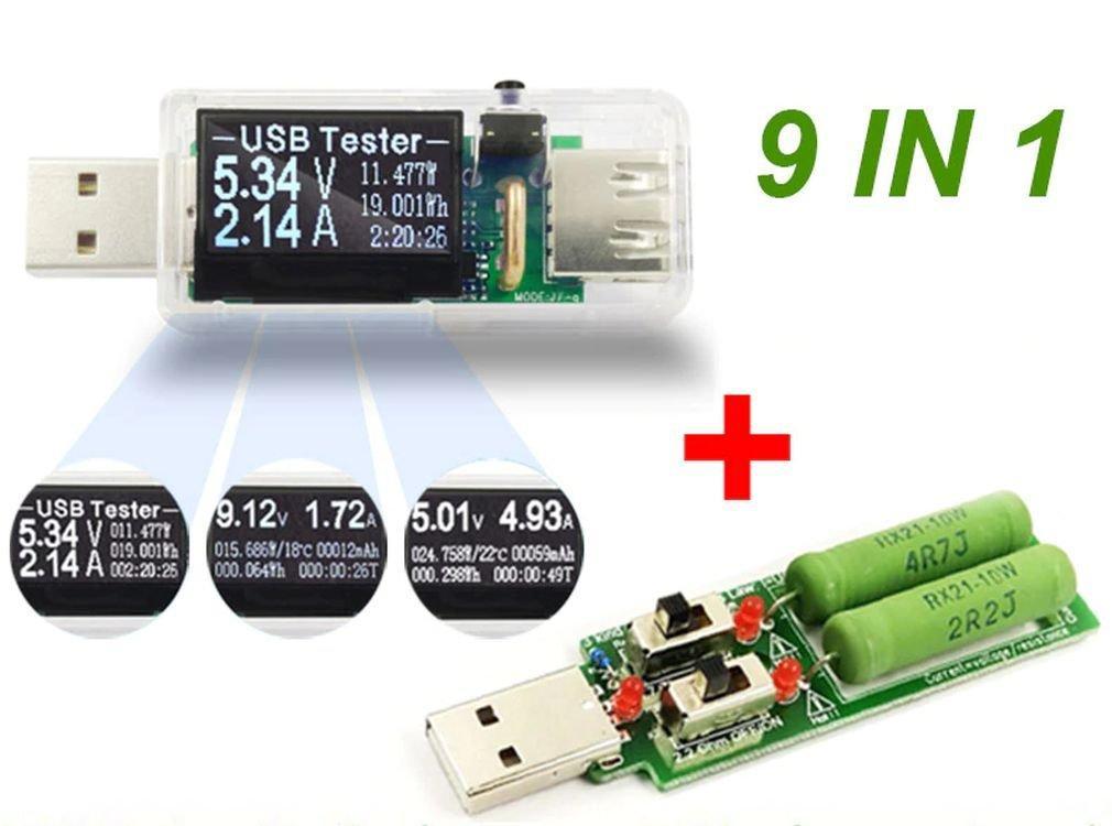 9 в 1 Usb тестер з навантажувальним резистором J7-2te, прозорий корпус