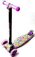 Самокат трехколесный детский Maxi светящиеся колеса принт Violet Flowers, фото 1