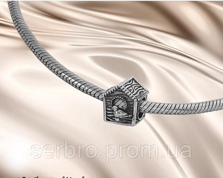 Родированый срібний шармик Будиночок