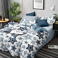 Комплект постельного белья из сатина Руно S66-2(A+B) голубой Двуспальный комплект