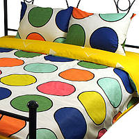 Комплект постельного белья из сатина Руно S22-2(A+B)_1 Круги желтый Полуторный комплект