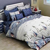 Комплект постельного белья из бязи Руно 3026(А+В) синий Двуспальный евро комплект