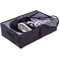 Текстильный кофр для хранения вещей на 4 отдела со съемными перегородками Organize черный - 227058