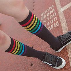 Гольфы с цветными полосками от 8лет черный