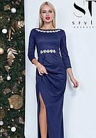Платье в пол с разрезом на ноге макси вечернее ( выпускное ) Цвет : Темно синий Размер : 42 44 46 Материал : люрекс трикотаж k-47990