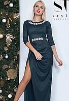 Платье в пол с разрезом на ноге макси вечернее ( выпускное ) Цвет : Бутылка Размер : 42 44 46 Материал : люрекс трикотаж k-47991