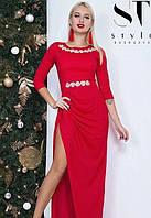 Платье в пол с разрезом на ноге макси вечернее ( выпускное ) Цвет : Красный Размер : 42 44 46 Материал : люрекс трикотаж k-47993