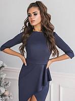 Платье вечернее ассиметричное приталенное по фигуре до колена мини миди Цвет : Темно синий Размер : 42 44 46 Материал : плотный приятный замш k-48436