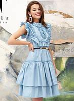 Платье летнее легкое свободного кроя ( Клеш ) на пуговицах и на резинке Цвет : Голубой Размер : 42 44 46 k-52984