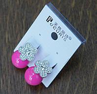 Яркие розовые пусеты с кристаллами, эксклюзивная бижутерия опт. 283