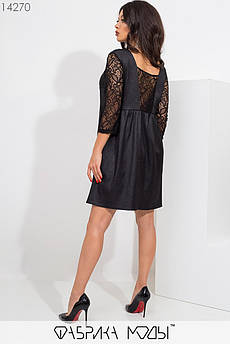 Платье мини с блестящим напылением прямого кроя с фигурными выточками, с рукавами 3/4 из гипюра и вставкой сзади 14270