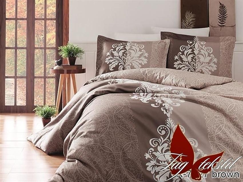 Полуторный комплект постельного белья ренфорс R7427 brown