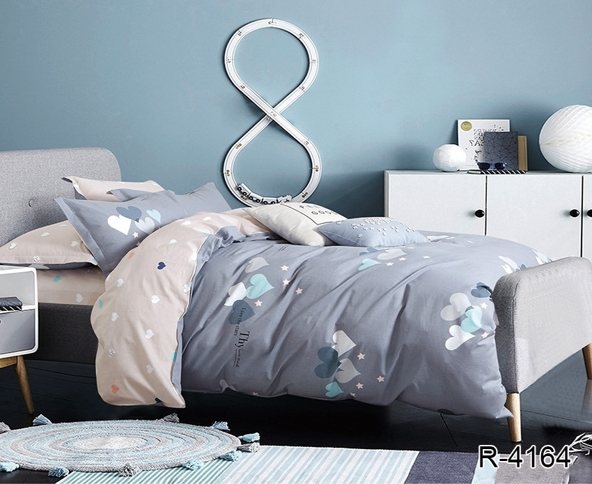 Полуторный комплект постельного белья ренфорс с компаньоном R4164
