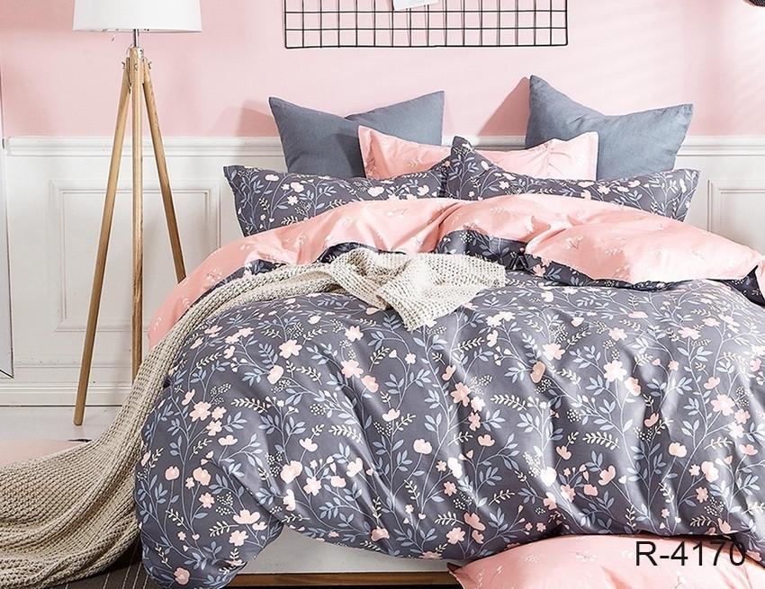 Полуторный комплект постельного белья ренфорс с компаньоном R4170