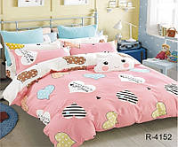 Полуторный комплект постельного белья ренфорс с компаньоном R4152