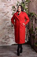 Женское двубортное удлиненное пальто больших размеров с 48 по 82 размер