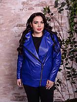 Стильная женская куртка- косуха с эко кожи больших размеров 48 -82 размер, фото 2