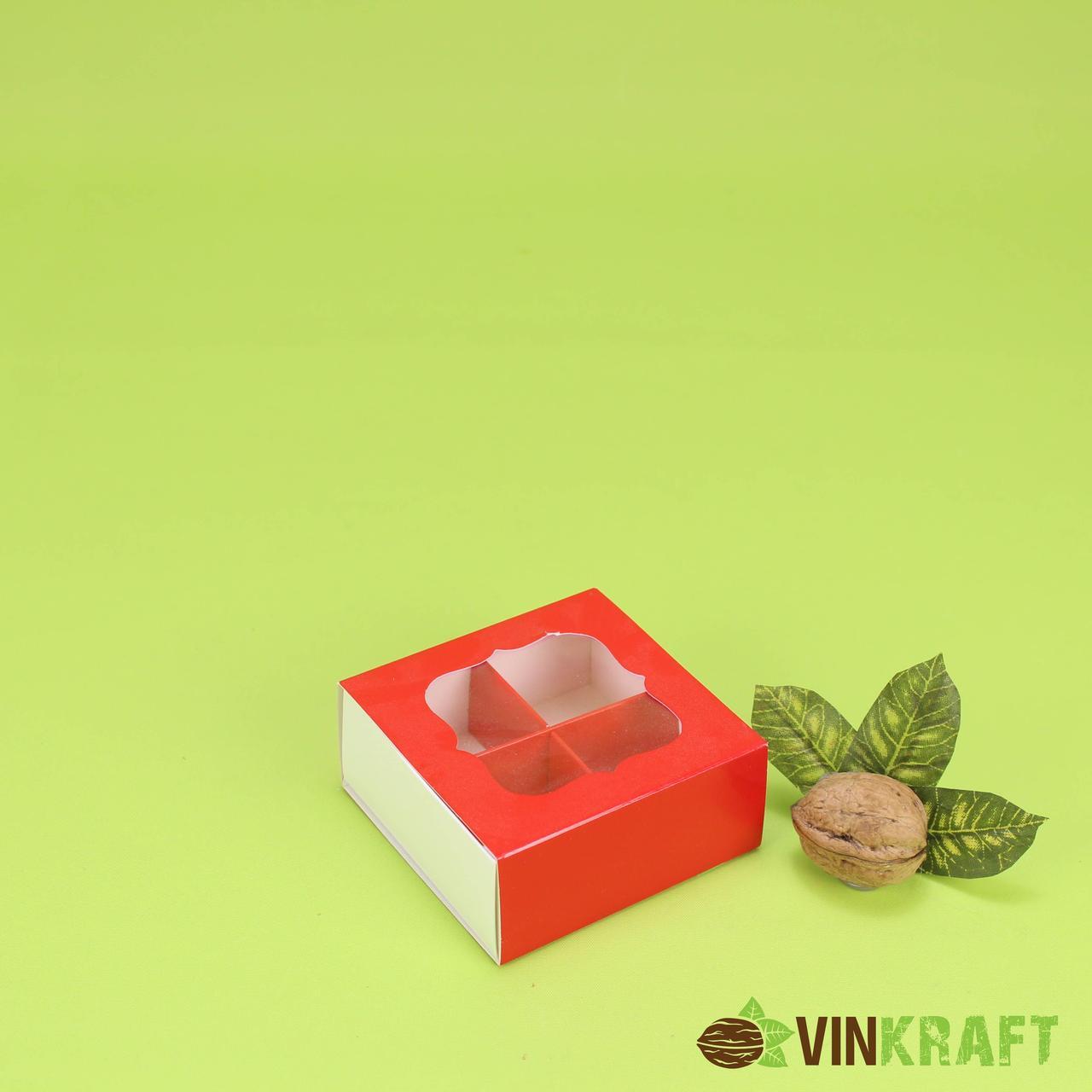 Коробка 80*80*35 для цукерок (4 шт) з вікном, червона