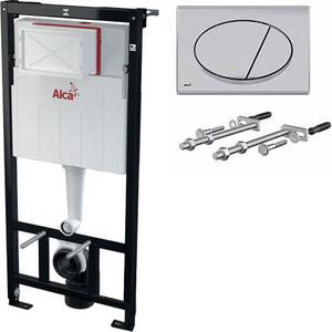 Скрытая система инсталляции, 1120x150x520 для гипсокартона в комплекте с белой кнопкой Alcaplast AM101/1120 + M70