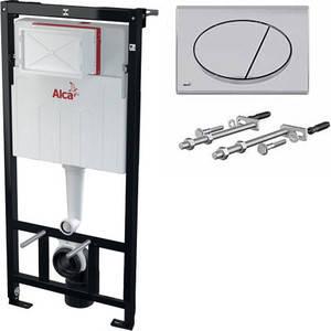 Скрытая система инсталляции, 1120x150x520 для гипсокартона в комплекте с белой кнопкой Alcaplast AM101/1120 + M70, фото 2