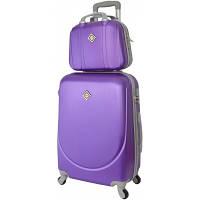 Комплект Bonro Smile чемодан + кейс большой, фиолетовый