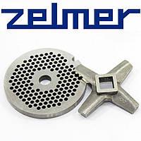 Комплект Односторонний нож для мясорубки Zelmer NR8 и решетка (сито) мелкая