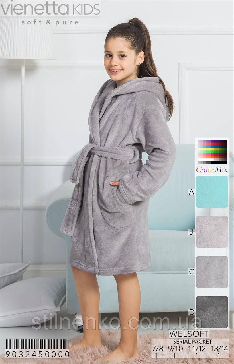 Детский махровый халат на запах для девочки