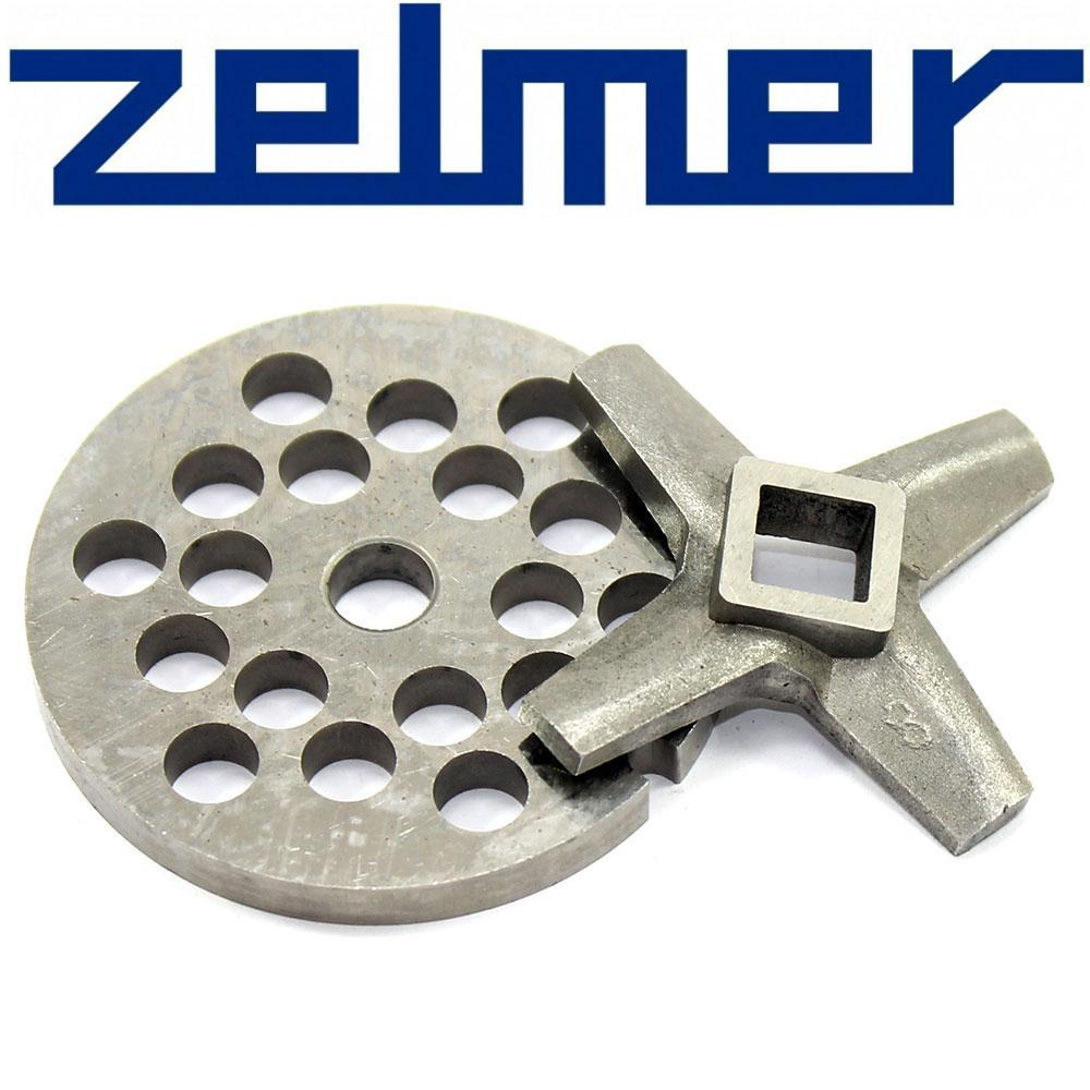 Комплект Односторонний нож для мясорубки Zelmer NR8 и решетка (сито) крупная