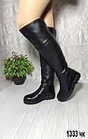 Женские зимние кожаные ботфорты без каблука