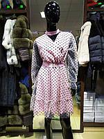 Модное короткое платье пышная юбка фатин длинный рукав в горох