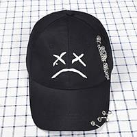 Кепка Бейсболка Lil Peep ( Лил Пип ) с кольцами и цепями Черная с белой эмблемой