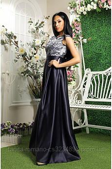 Вечірня сукня з вишивкою синього кольору L
