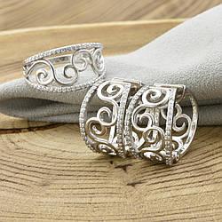 Серебряный набор Ш679 кольцо + серьги 20х12 мм вставка белые фианиты размер 20