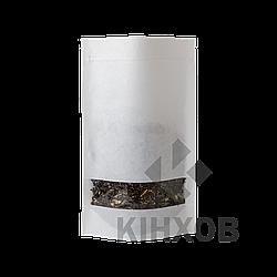 Пакет Дой-Пак крафт РЕ білий + вікно 100*170 дно (30+30)