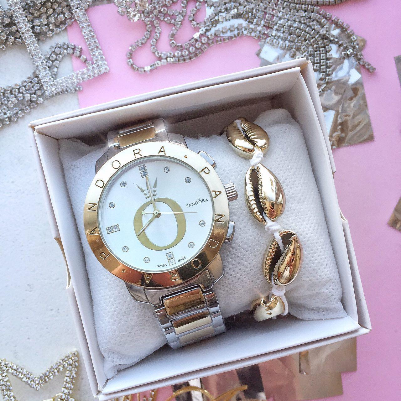 Женские наручные часы в стиле Pandora золотые. Наручные кварцевые часы из нержавеющей стали. Годинник жіночій