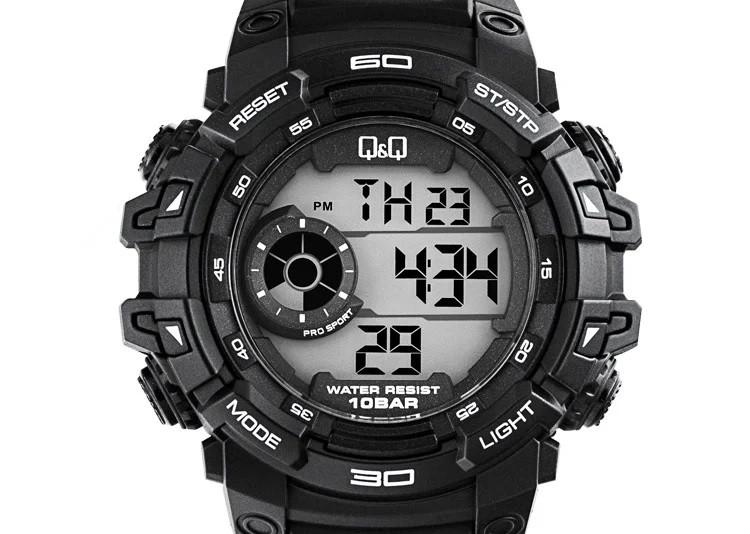 Q&Q M156 черные мужские спортивные часы