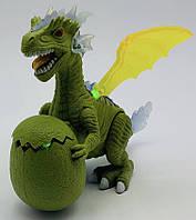 Динозавр с маленьким в яйце, летающий (машет крыльями, ходит, светится)