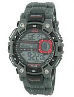 Q&Q M161 серые с красными вставками мужские спортивные часы